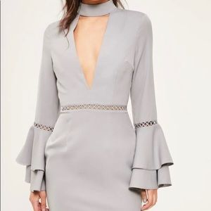 Missguided Lavender flared sleeve dress